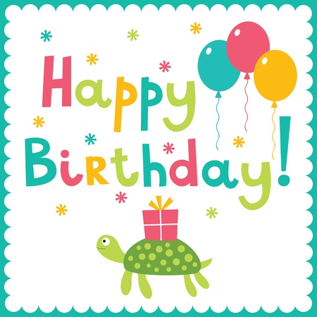 Birthday card with a turtle