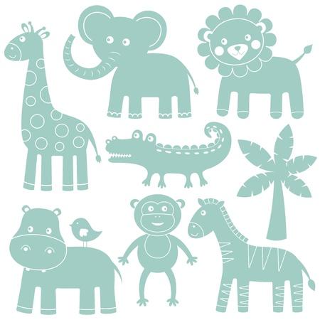 jirafa caricatura: Animales lindos establecidos Vectores