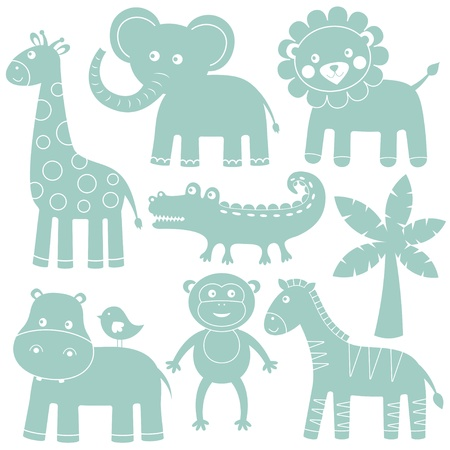 monkey silhouette: Cute animals set