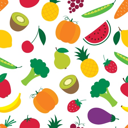 Seamless fruit and vegetables pattern Vector