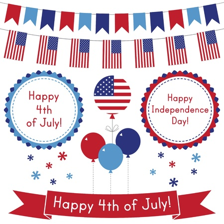 4th of July design elements set Vector