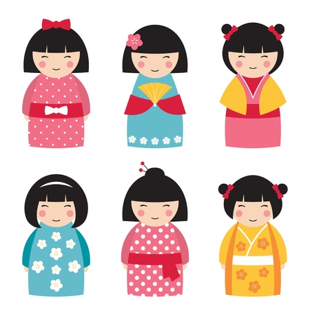 Cute dolls in japanese style Vector