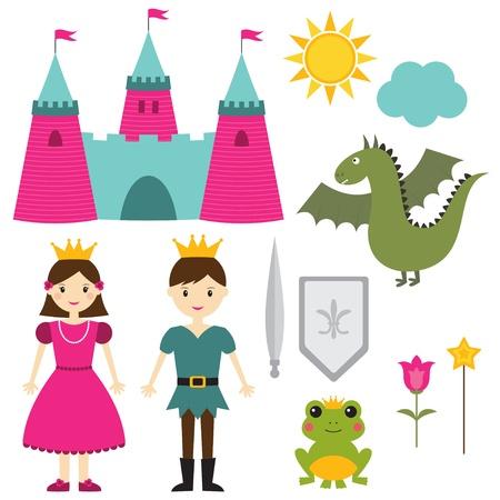 princess frog: La princesa y el pr�ncipe conjunto Vectores