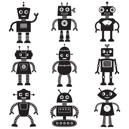 space robot: Robot silhouettes set