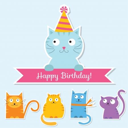 Birthday cats card Vector