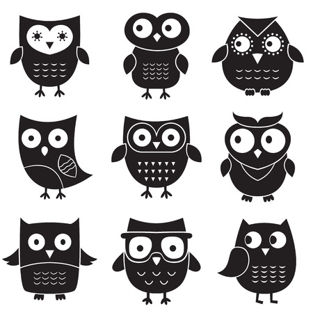 Owls set, isolated elements  Vector