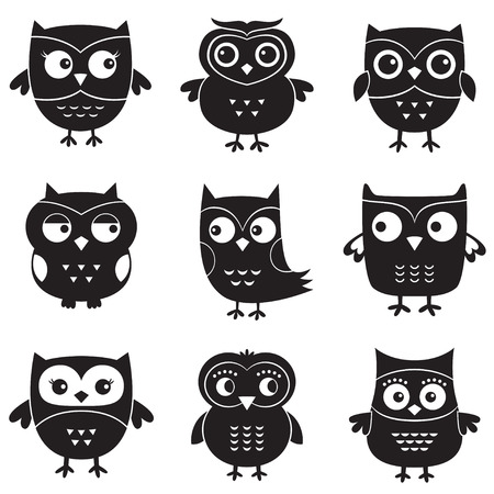 Owls, isolated design elements  Vector