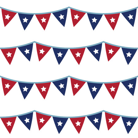 4th of July seamless bunting pattern Ilustração