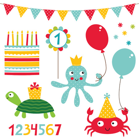 pasteles de cumpleaños: Conjunto de la fiesta de cumpleaños del cabrito