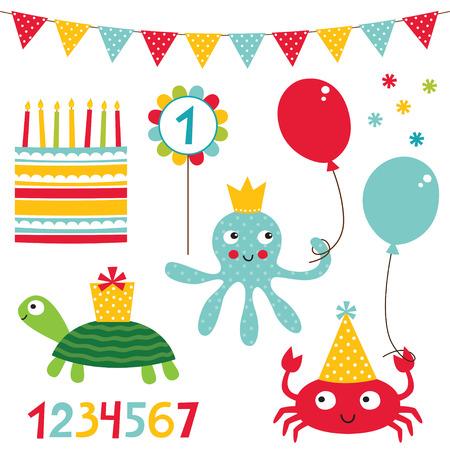 birthday cakes: Kid party birthday set