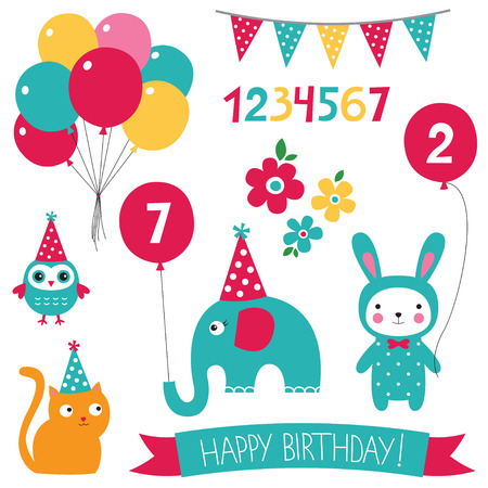 numbers clipart: Birthday set