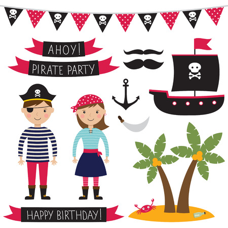 girl in red dress: Pirate party set Illustration