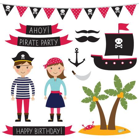 Pirate party set Illustration