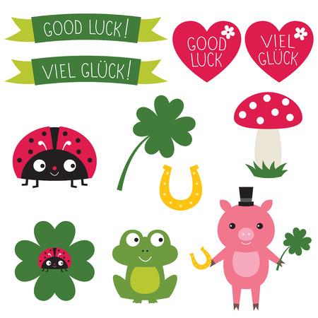 cartoon shamrock: Good luck elements set  Text in English and German
