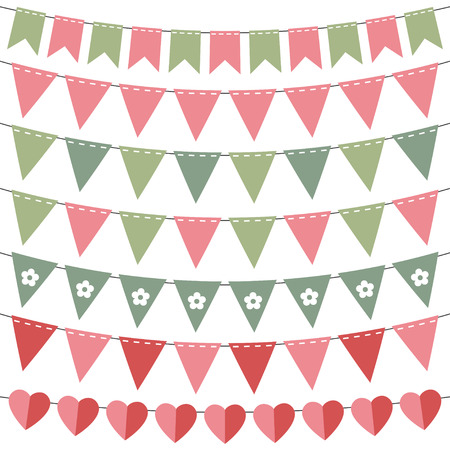 Pink and green bunting set