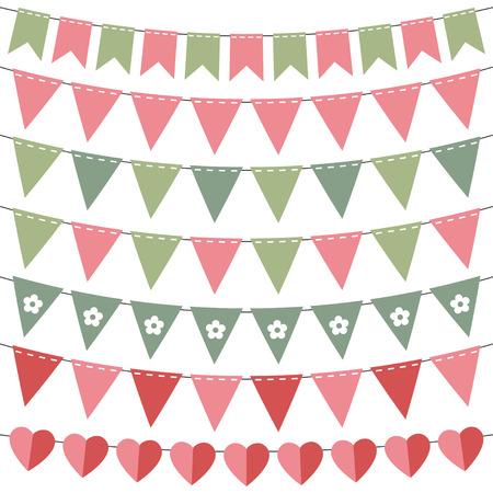 Rosa und grüne Fahne Set Standard-Bild - 30154901