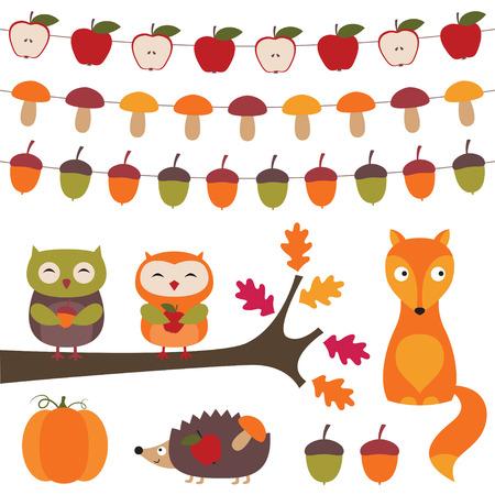 Autumn design elements set Vector