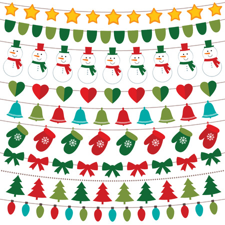 string of lights: Christmas decoration set Illustration