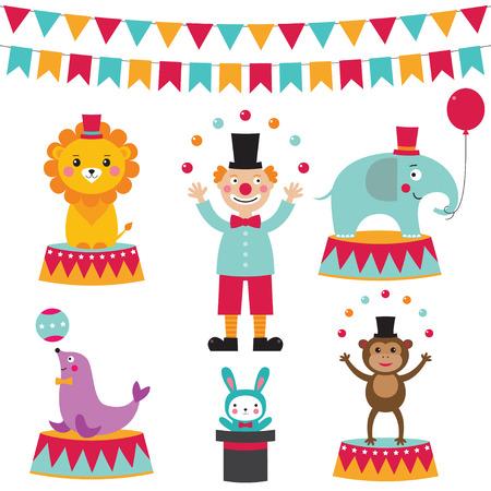 clown cirque: Mignon cirque ensemble Illustration
