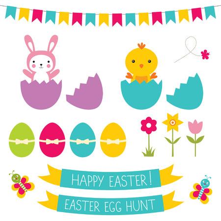 flower clip art: Easter set, isolated elements Illustration