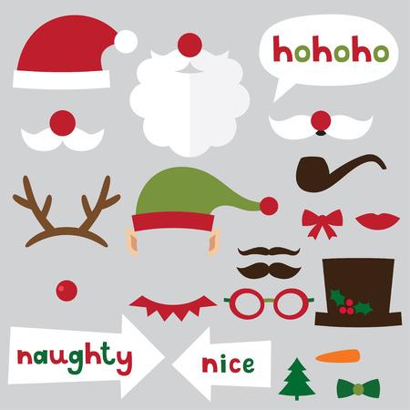 mascarilla: Cabina de fotos de Navidad y conjunto scrapbooking (Santa, ciervos, duende, mu�eco de nieve, signos travieso y agradable)