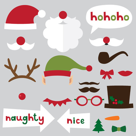Christmas photo booth and scrapbooking set (Santa, deer, elf, snowman, naughty and nice signs) Vector
