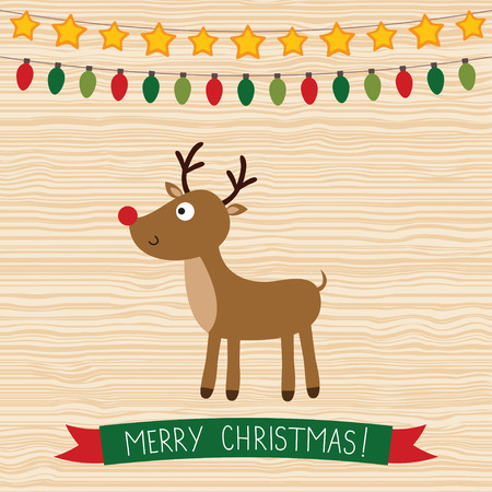 red nosed reindeer: Christmas card with a deer
