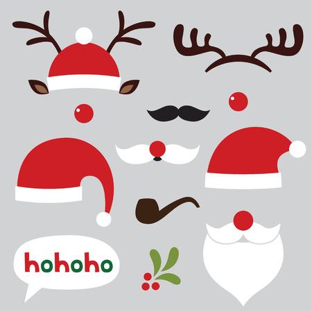 クリスマス写真ブースとスクラップブッ キング セット (サンタと鹿)  イラスト・ベクター素材