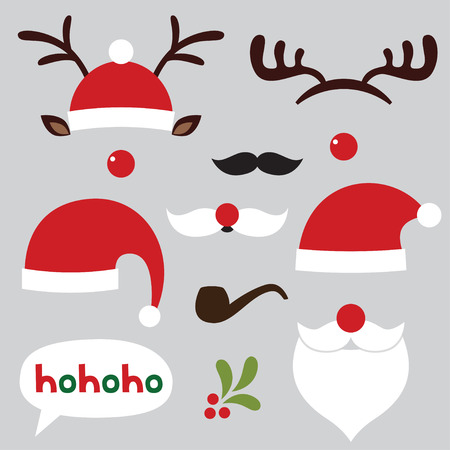 red hat: Christmas photo booth and scrapbooking set (Santa and deer) Illustration