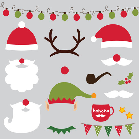 Kerst foto booth en scrapbooking set (Kerstman, herten, elf) Stock Illustratie