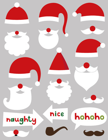 red hat: Christmas photo booth and scrapbooking Santa set (hats, beards, naughty and nice signs)
