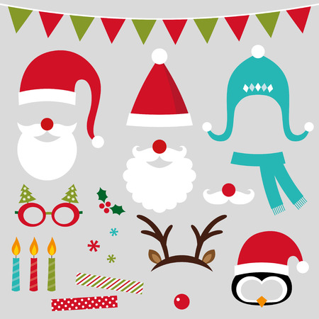 cartoon penguin: Christmas photo booth and scrapbooking set (Santa, deer, decoration) Illustration