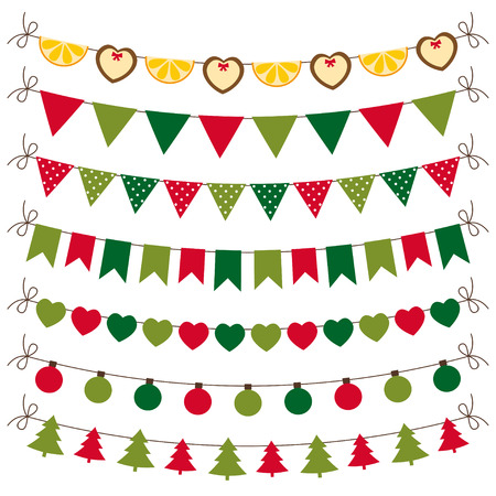 Christmas bunting and decoration set Illustration