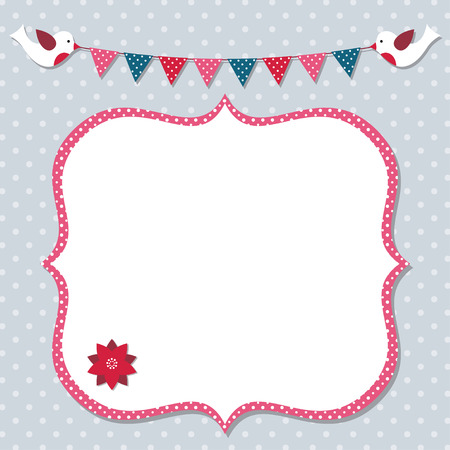 scrapbook frame: Christmas vector frame with birds and bunting Illustration