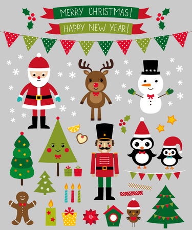 Christmas characters and design elements set Imagens - 33830783
