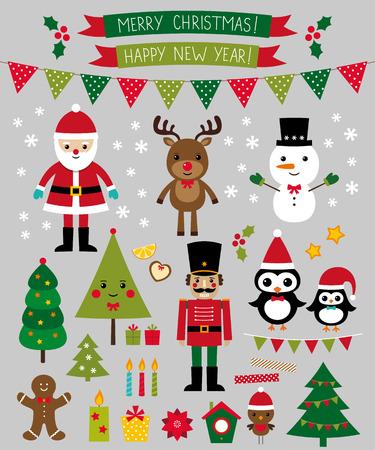 pinguinos navidenos: Personajes de Navidad y elementos de escenografía Vectores