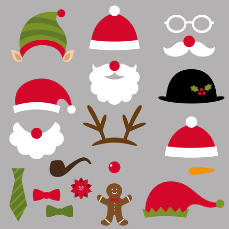 santa costume: Christmas Santa, elf, deer and snowman design elements Illustration