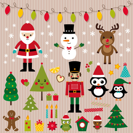 nutcracker: Christmas lights and design elements vector set
