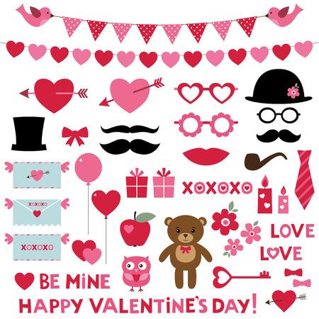 bigote: Conjunto de San Valent�n - props fotomat�n y elementos de dise�o Vectores