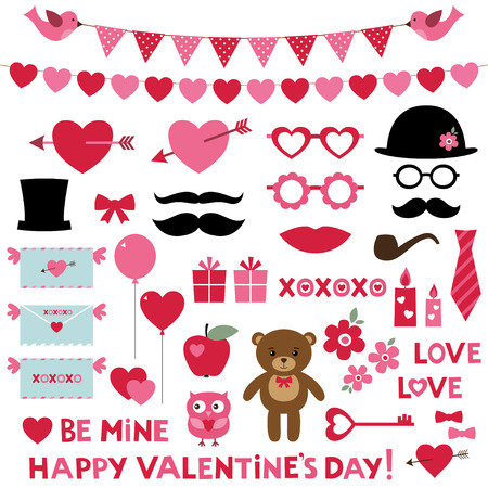 pink flower: Valentines Day set - photo booth props and design elements