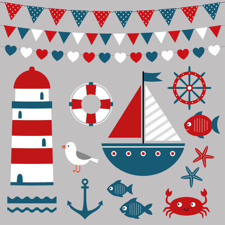 nautical flags: Sea design elements set