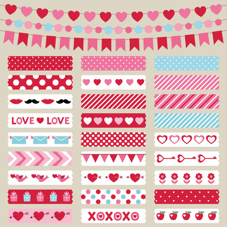 tape: Valentines Day decoration and washi tapes set Illustration