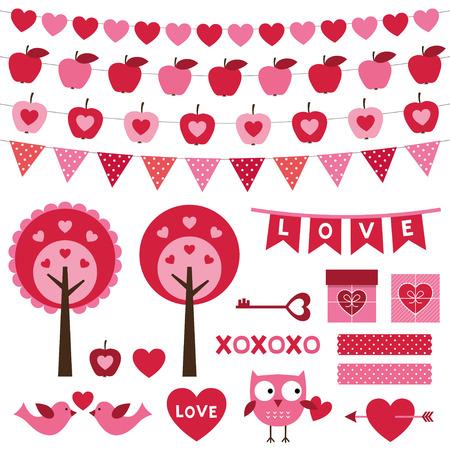 Valentines Day design elements set Vector