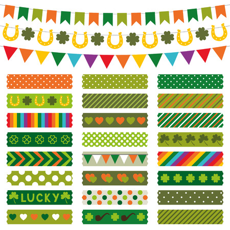 St. Patricks Day decoration and washi tapes set Vector
