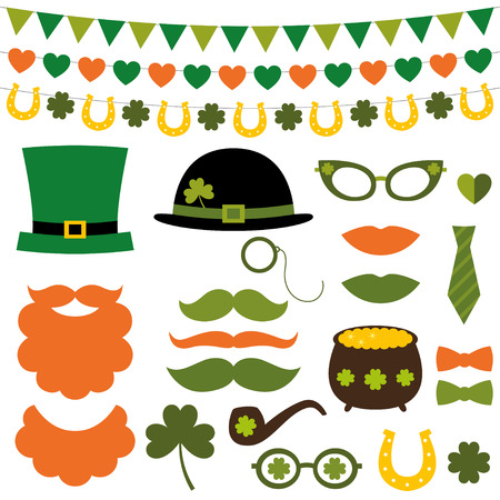 leprechaun hat: St. Patricks Day decoration and photo booth props set Illustration