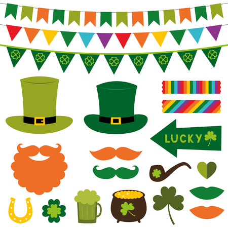 patricks day: St. Patricks Day decoration and photo booth props set Illustration