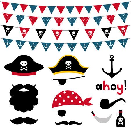 Pirate foto booth rekwisieten en scrapbooking set Stock Illustratie