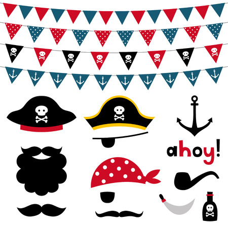 pirates flag design: Pirate photo booth props and scrapbooking set