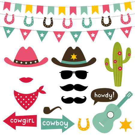 cowgirl and cowboy: Cowboy design elements set