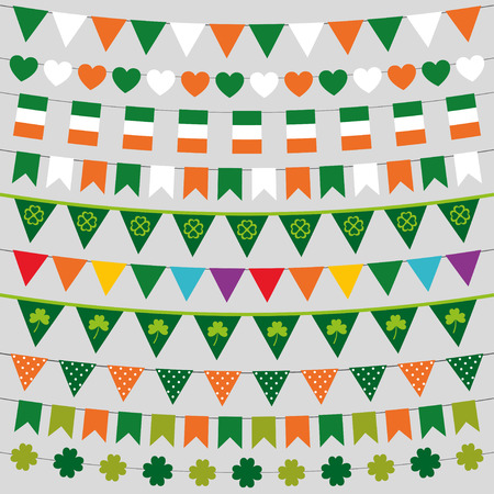 Irish flag bunting and decoration set for St. Patricks Day Vector